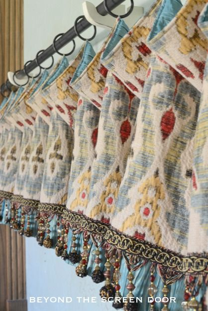 Multi-Colored Droop Valance with Contrast Lining and Beaded Trim | Beyond the Screen Door