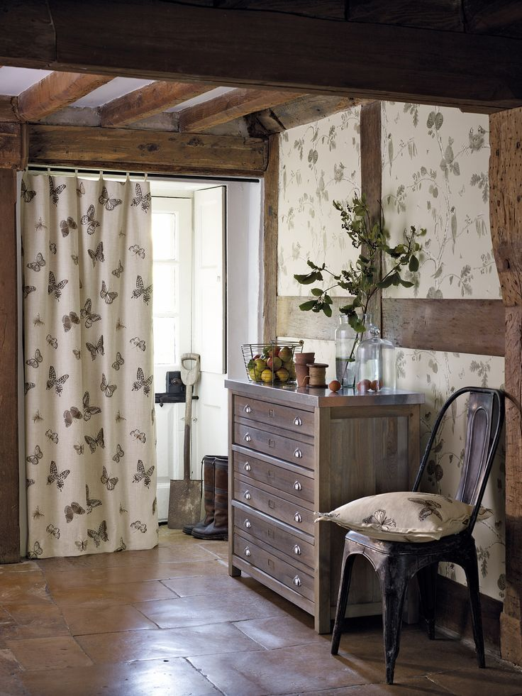 Sanderson Fabric - Butterfly Embroidery (235600) Delicately embroidered, contemporary, stylised butterflies flutter across this organic-feel, linen-mix fabric which is perfect for curtains in the modern country home.