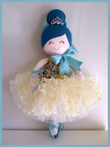 Giulia♥ Handmade  Doll.....Ballerina $90 Full tulle  tutu w.layers and layers ofruffled ivory lacew. satin ribbon tie  and  han...