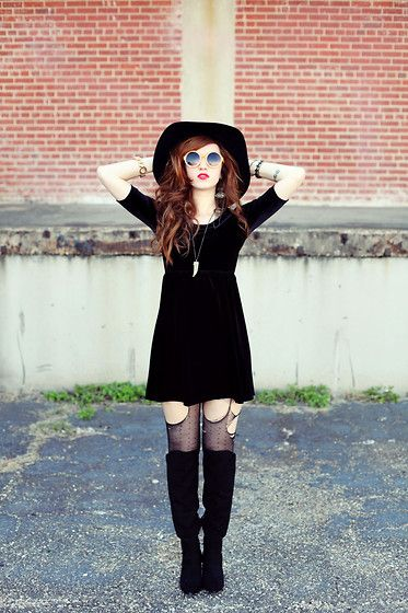 Velveteen Babydoll Dress, Hourglass Round Orange Sunglasses
