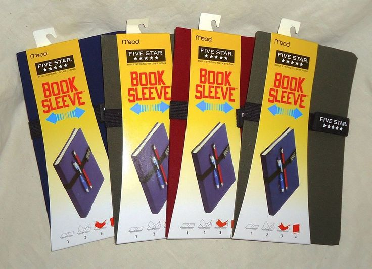 NEW! Lot of 4 MEAD Five Star Booksleeve Stretch Book Covers with Velcro Strap #Mead
