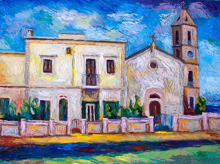 Chiesa a Savelletri - 60 x 80 - olio su base composita olio e gesso