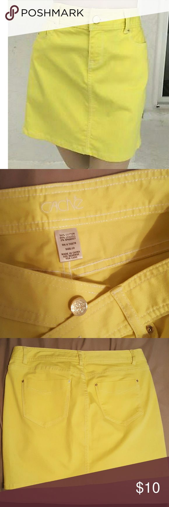 CACHE  cotton jean, Neon yellow mini skirt!! Used only a few times , basically new!!! Nothing wrong with it, no stains or tears, 54% cotton,  2% spandex and 44% lyocell.   Perfect skirt for summer or a nice spring day!!! 2 pockets in the back and zipper in the front. LOVELY! Cache Skirts Mini