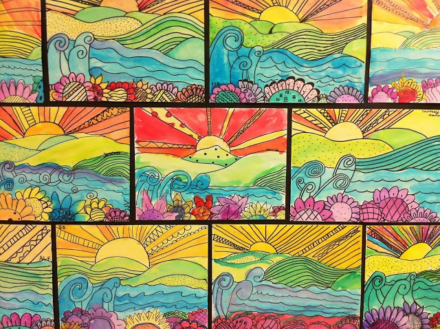 5th- foreground, middle, and background Apex Elementary Art