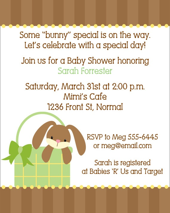 Green Easter Bunny Baby Shower Invitations