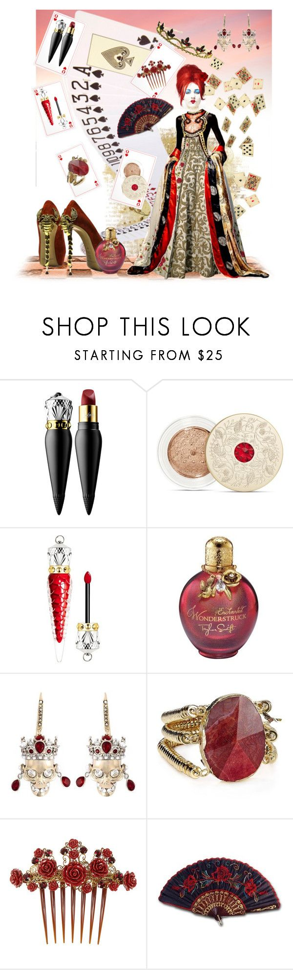 """""""Iracebeth of Crimms"""" by slytherin-pirate-chick ❤ liked on Polyvore featuring Christian Louboutin, Gianmarco Lorenzi, Bare Escentuals, Alexander McQueen, Aqua, Dolce&Gabbana, Pierre Balmain and TIARA"""