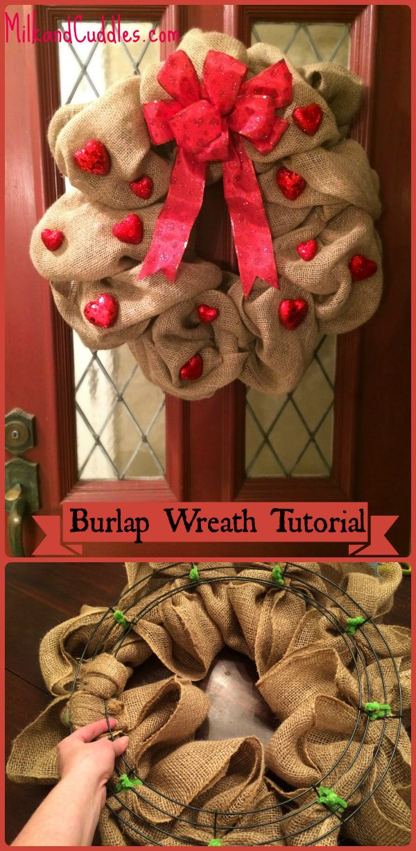 Make a Burlap Valentines Day Wreath! EASY Step by step tutorial! Country chic and super unique! Step by step Tutorial. I'm PINNING FOR VALENTINES DAY! February 14th decor!