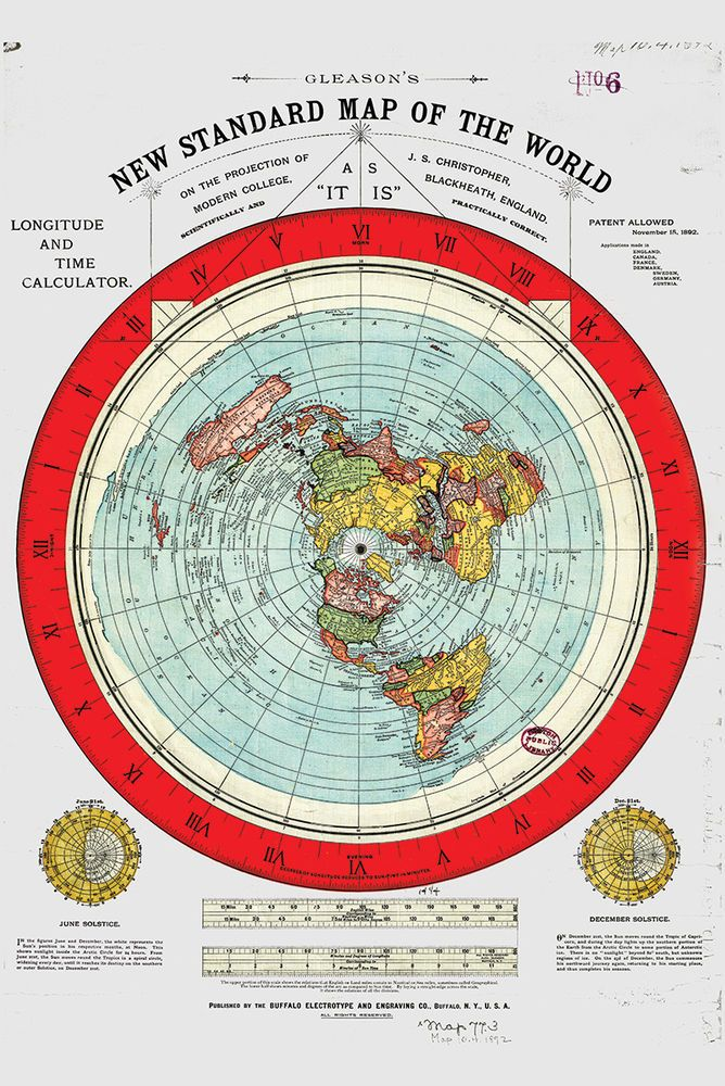 """Flat Earth Map - 3  Gleason's New Standard Maps Of The World - Large 24"""" x 36"""""""
