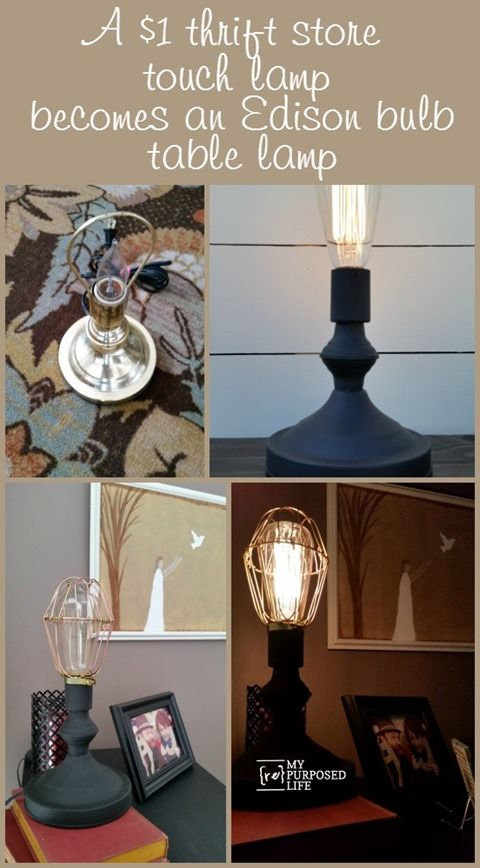 A one dollar thrift store brass touch lamp gets new life as an Edison bulb table lamp. huh what?  I did not know a touch lamp could be painted.