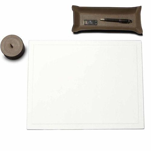 Schreibtischauflage, weiß Glattleder, Hellgrau | desiary.de - identity store