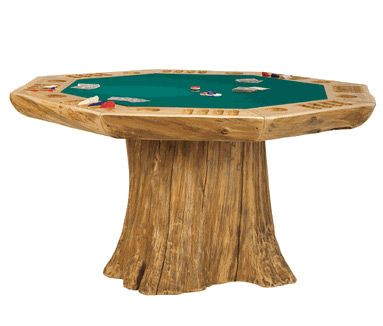 Poker table made out of a log