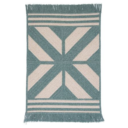 Braided and reversible wool-blend rug with a Southwestern motif and fringe trim. Made in the USA.  Product: 65% Polyester and 35% woolColor: GreenFeatures:  Made in the  USABraidedReversible Note: Please be aware that .Cleaning and Care: Vacuum with hard surface attachment only. Spot clean with any common household cleaner Love the town of Sadona, Arizona ... cool rug too...