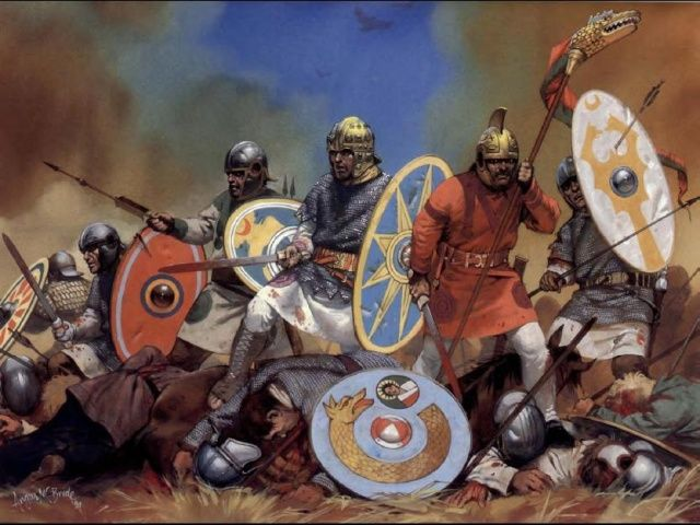 The Anglo - Saxons were tall , fair - haired men , armed with swords and spears and round shields. The sword was the most important weapon in Anglo - Saxon times