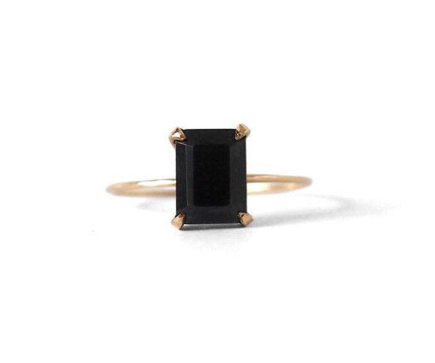Black Emerald Stone Ring, $450