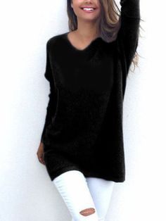 Black Casual Long Sleeves V-neck Sweater - US$15.95 -YOINS
