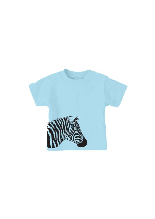 Customised blue zebra baby t-shirt