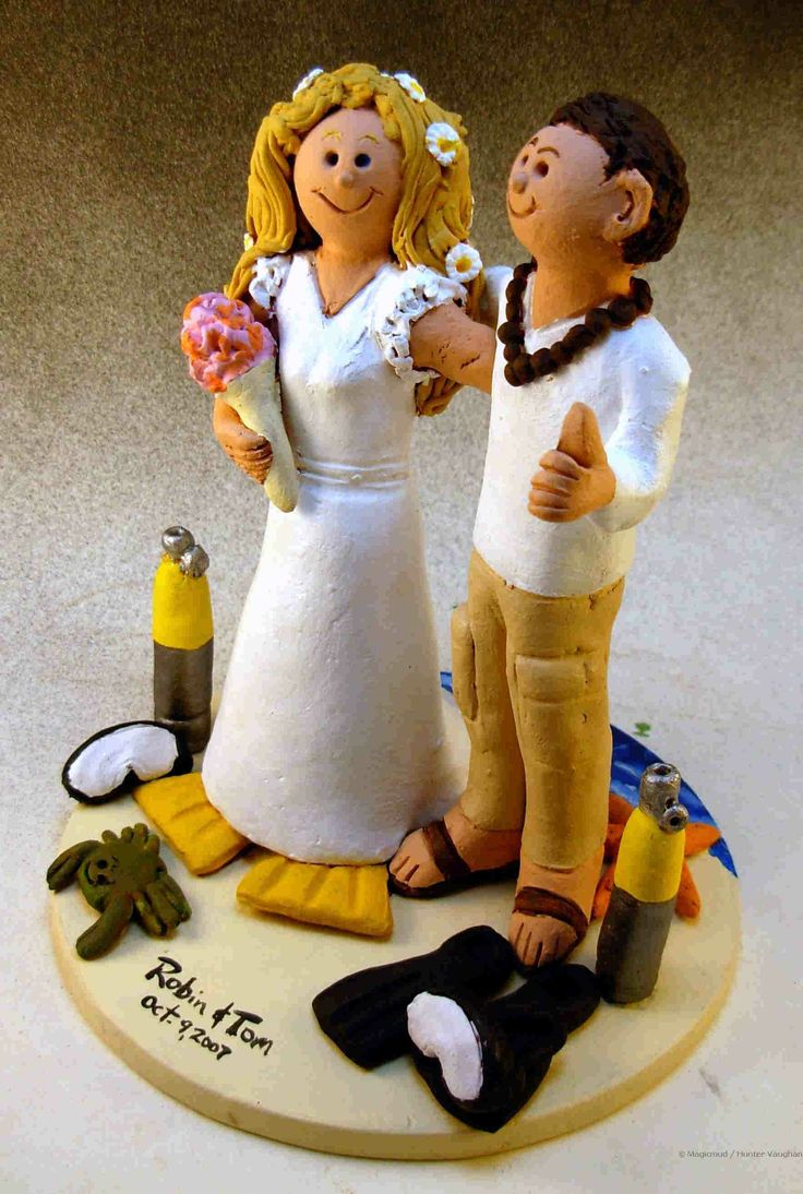 Hawaiian Skin Divers Wedding Cake Topper http://www.magicmud.com   1 800 231 9814  magicmud@magicmud.com $235  https://twitter.com/caketoppers         https://www.facebook.com/PersonalizedWeddingCakeToppers   #wedding #cake #toppers #custom #personalized #Groom #bride #anniversary #birthday#weddingcaketoppers#cake-toppers#figurine#gift#wedding-cake-toppers #scuba#skinDiver#scubaDiver#diver#diving#ocean#snorkel#beach