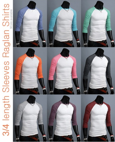 Korea_top unisex womens 3/4 sleeve mens raglan Casual shirts raglan tee Top