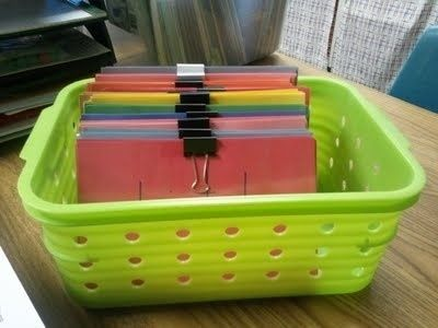 Use binder clips to separate flash cards. | 25 Clever Classroom Tips For Elementary School Teachers  I could definitely use this trick at home. Calista's flash card boxes are beginning to fall apart and I have a plethora of binder clips at work.