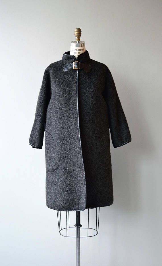 Vintage 1960s Bonnie Cashin (Noh style) deep charcoal mohair coat with black leather trim, high collar, one large black leather buckle closure, classic Bonnie Cashin generous pockets and no lining. Super warm. A classic piece from a significant American fashion designer. --- M E A S U R E