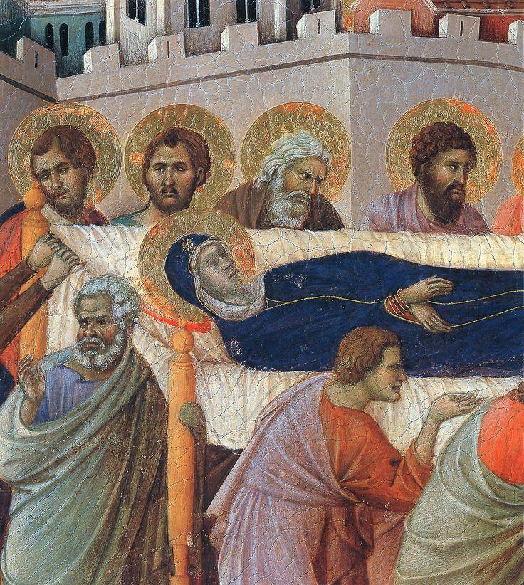 The death of Mary (Fragment) via Duccio di Buoninsegna  Medium: wood, tempera