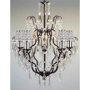 Versailles Wrought Iron Chandelier Lighting Empress Crystal Chandelier Lighting With Crystal Shades & Chrome (Grey) Sleeves