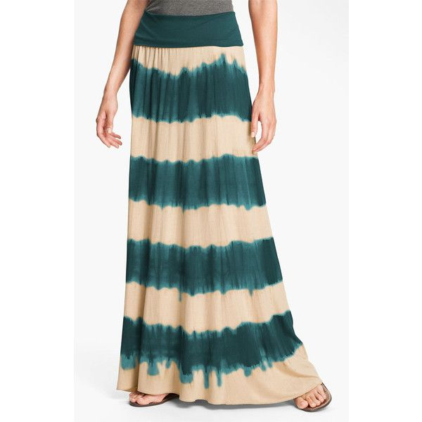 Max & Mia Tie Dye Maxi Skirt Cranberry X-Small ($29) ❤ liked on Polyvore