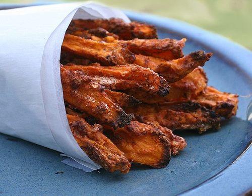 no grease crispy sweet potato fries using egg white coating