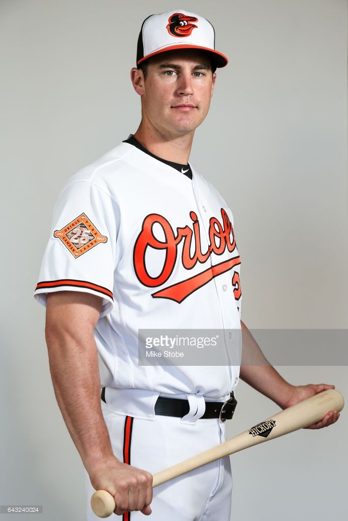 Logan Schafer #28 of the Baltimore Orioles poses for a portait during a MLB photo day at Ed Smith Stadium on February 20, 2017 in Sarasota, Florida.