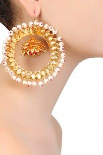 Golden Gota and Plastic Pearls Chandbali Earrings #gotta #ribbon #earrings…