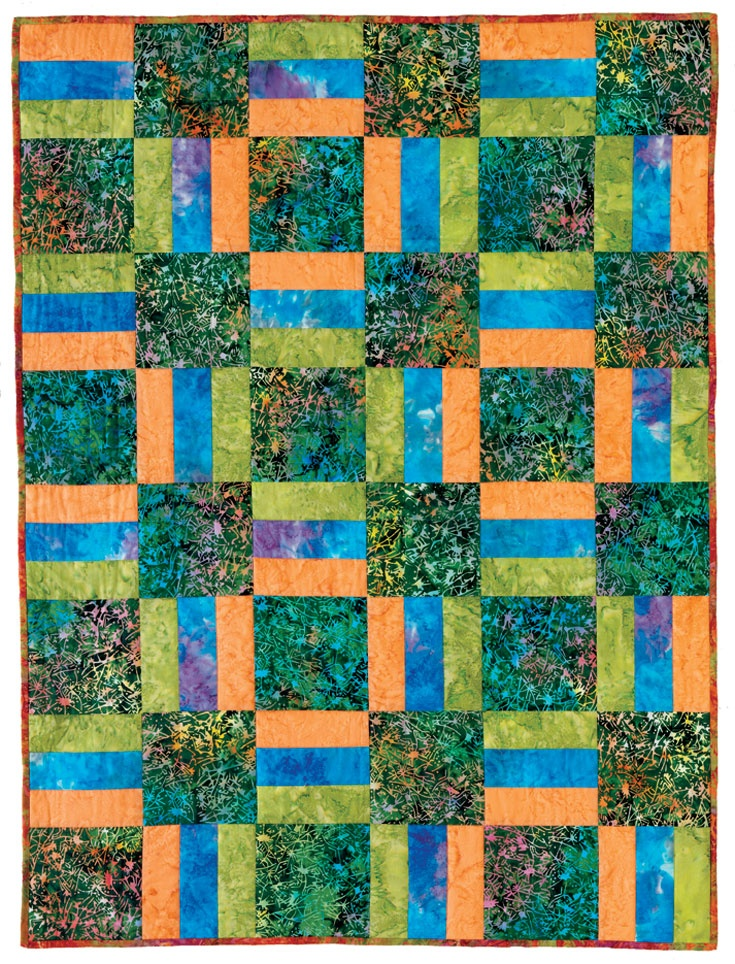 "First-Time Quiltmaking - ""Rail Fence Quilt"".  The rail fence blocks on this quilt add visual interest while keeping the quilt pattern easy and quick to construct. Find it online: http://landauerpub.com/First-Time-Quiltmaking-Softcover.html"