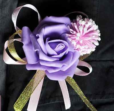 New-Artificial-Wedding-Flower-PE-Foam-buttonhole-Corsage-Bride-Groomsmen-QLUK