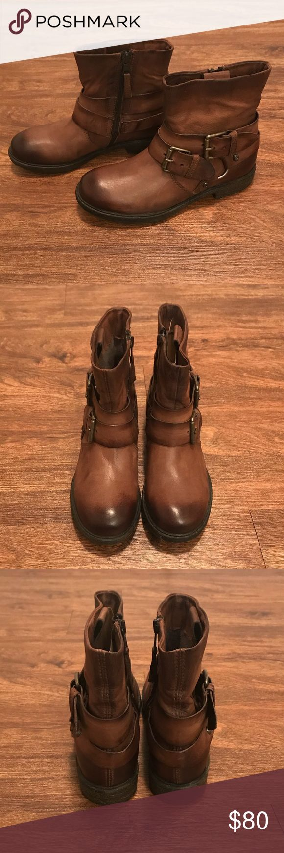 Mjus leather boots Mjus brown leather ankle boots with black highlights. Brand new. Never worn. Made in Italy Mjus Shoes Ankle Boots & Booties