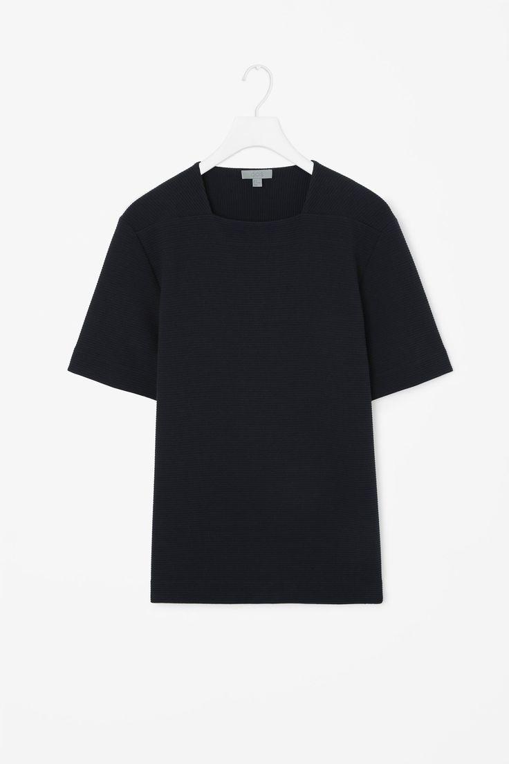 Square-neck ribbed t-shirt