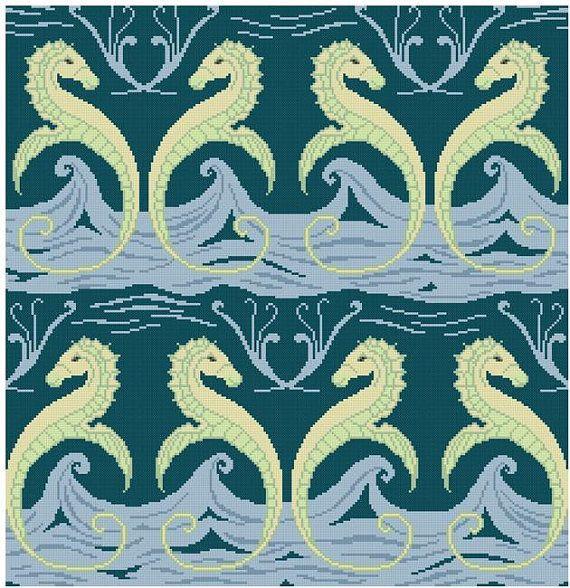 Sea Horses on a Wave panel pattern to cross stitch PDF