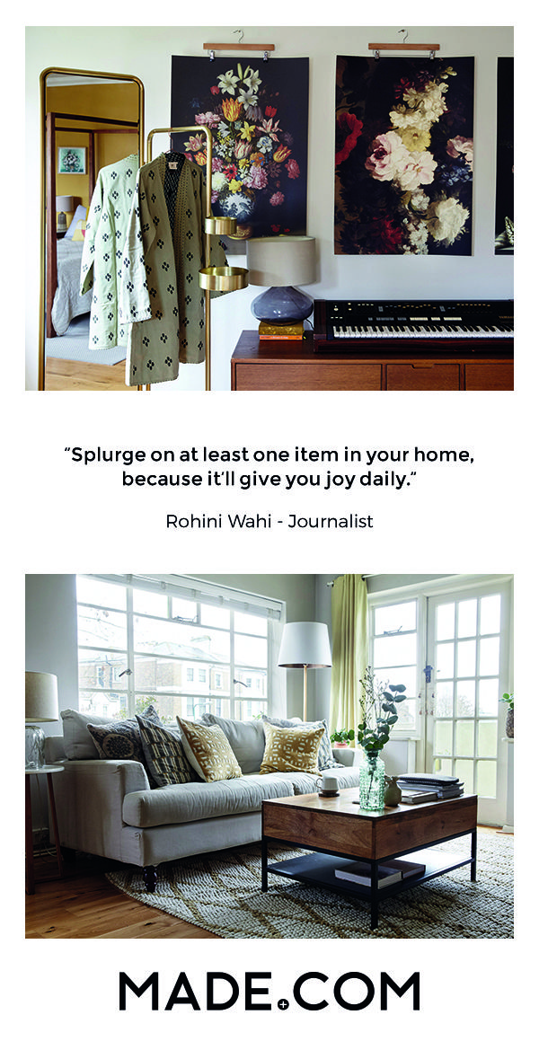 """Describing her 1930s East London apartment block as """"a time warp to historic Palm Springs"""" journalist Rohini Wahi has created a home inspired by her Indian heritage and love of design."""
