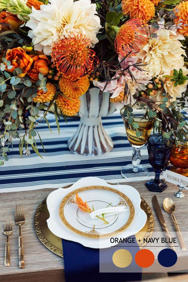 Orange navy blue and gold - Fall wedding palette | Autumn wedding colour combinations | fabmood.com