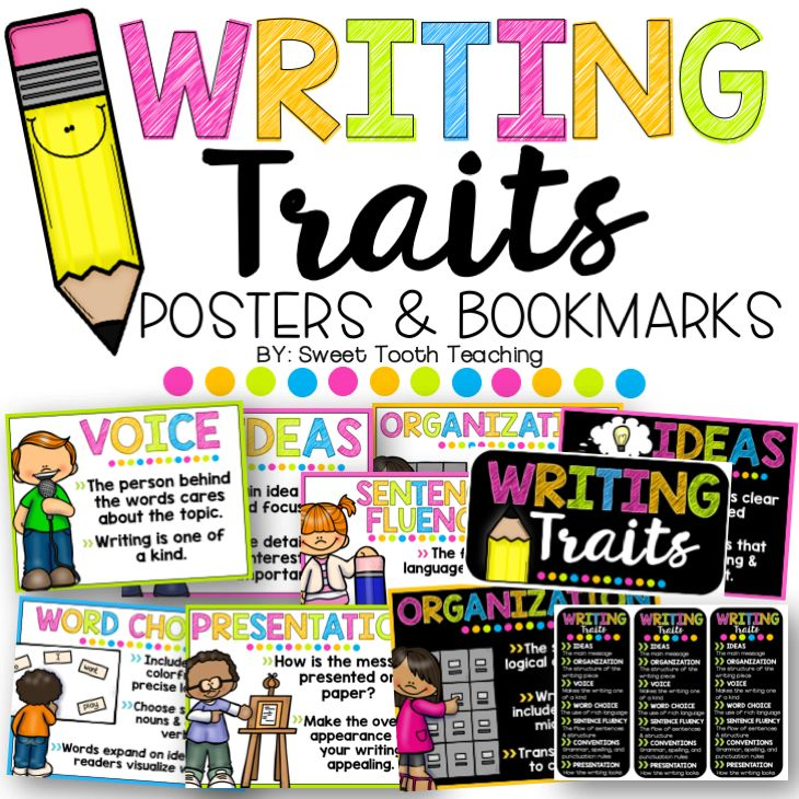 61 writing traits posters Teaching resource: a set of 4 posters explaining and giving examples of a character's personality, feelings and appearance.