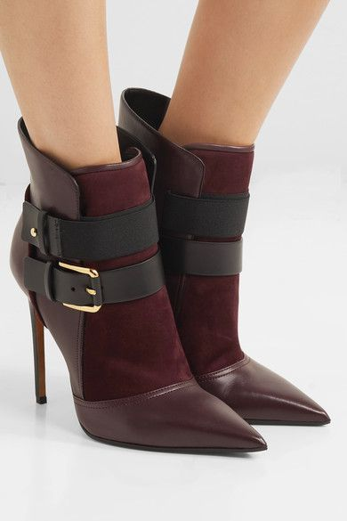Heel measures approximately 115mm/ 4.5 inches Plum leather and suede Pull on Made in ItalyLarge to size. See Size & Fit notes