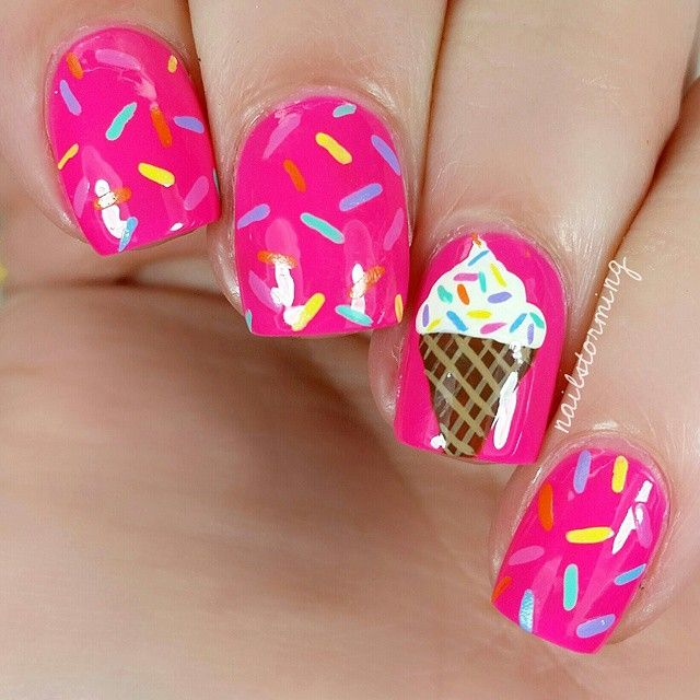 "Ice cream cone nail art Pink: ""Bubblegum Bang"" @iscreamnails"