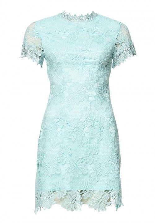 Green High Neck Lace Dress