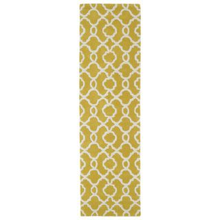 Cosmopolitan Trellis Yellow/ Ivory Hand-tufted Wool Rug (2'3 x 8')