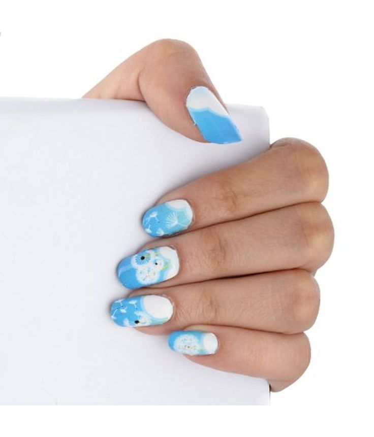 Ruby Blue Full Cover Premium Quality Nail Art Stickers - Stays Longer With 14 Stickers In One Pack