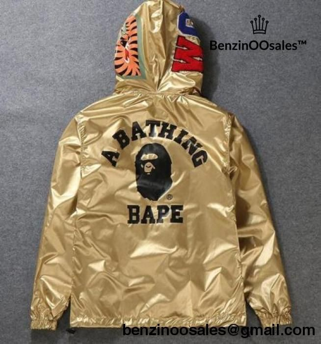 4a317c622d5b Bape Two-Wear Jacket Gold and reversable black Hoodie Windbreaker –  BenzinOOsales