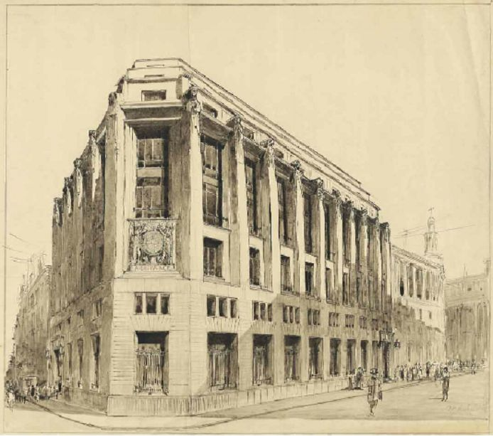 Design for London County and Westminster Bank, Moorgate, Albert Richardson #unbuiltlondon