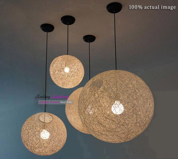 50cm Free Wholesale Modern twine ball hemp rope Light White,Black,Beige flax cord Suspension Pendant Lamp we have Various sizes