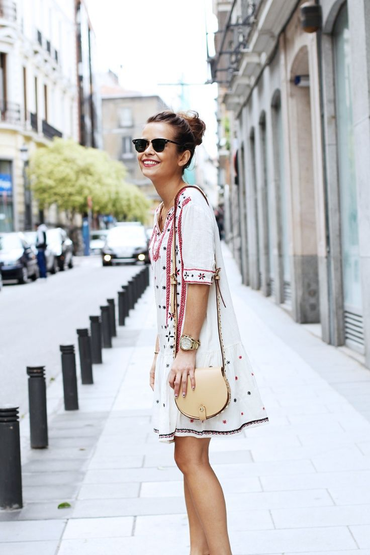 Casual flowy white dress fashion style 2015 - There Is 0 Tip To Buy This Dress Boho Bohemian Embroidered Embroidered White Pink Casual Casual Summer Fashio Fashion Colorful