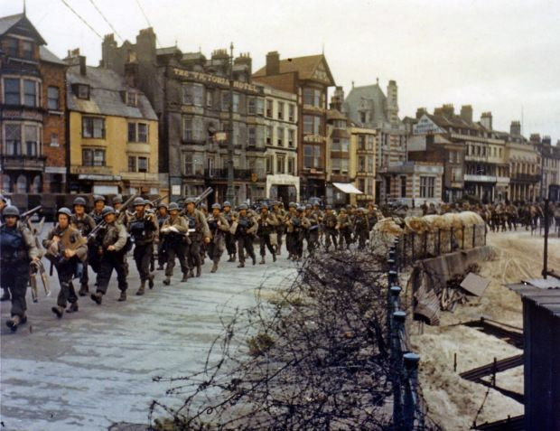 US troops ready to board landing ships at Weymouth, England for the D Day Normandy Invasion 1944. (Photo by: Universal History Archive/UIG via Getty Images)