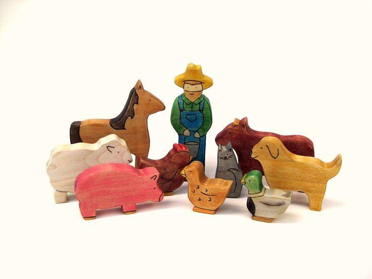 Farm Toy Set - Animal Toys - Wooden Toys - Handmade Toys - Waldorf Toys - Wood Toys - Kids Toys. $50.00, via Etsy.