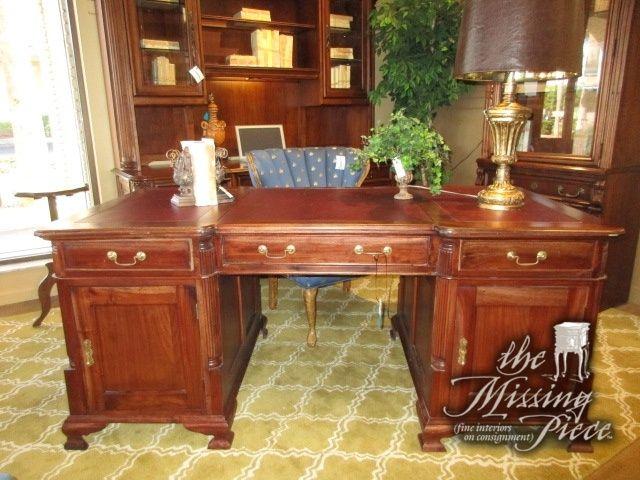 Antique Partners Desk White Marble Desk